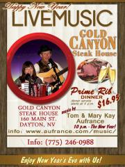 Live Music and New Years Party at Gold Canyon Steak House