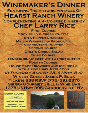 Winemaker's Dinner August 28 ~ Sierra Gourmet Grill & Wine Bar in Gardnerville,