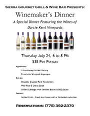 Winemaker's Dinner at Sierra Gourmet Grill & Wine Bar in Gardnerville